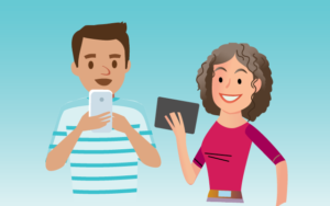 Two happy people using mobile devices